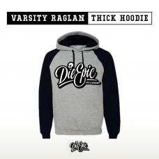 """Grey and Black """"Varsity"""" Raglan Thick Pullover Hoodie"""